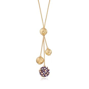 """Italian 14kt Yellow Gold Lariat Necklace With Textured and Purple Beads. 18"""", , default"""