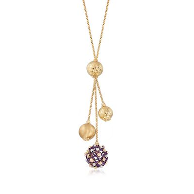 Italian 14kt Yellow Gold Lariat Necklace with Textured and Purple Beads, , default