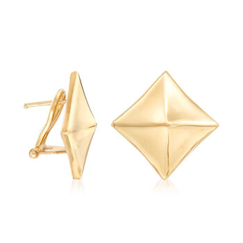 Italian Diamond-Shaped Earrings in 18kt Yellow Gold, , default