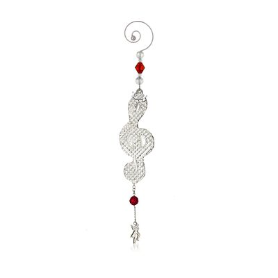 "Waterford 2017 Annual ""12 Days of Christmas"" Red and Clear Crystal Ornament - 11 Pipers Piping, , default"