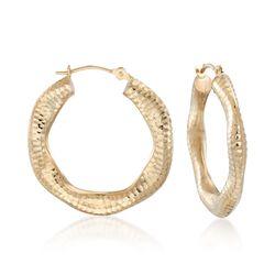 """14kt Yellow Gold Wavy Diamond-Cut Hoop Earrings. 5/8"""", , default"""