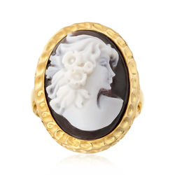 Italian Shell Cameo Ring in 18kt Gold Over Sterling, , default