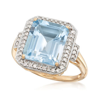 5.00 Carat Aquamarine and .22 ct. t.w. Diamond Ring in 14kt Yellow Gold, , default