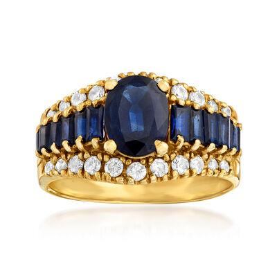 C. 1980 Vintage 2.50 ct. t.w. Sapphire and .50 ct. t.w. Diamond Ring in 14kt Yellow Gold, , default