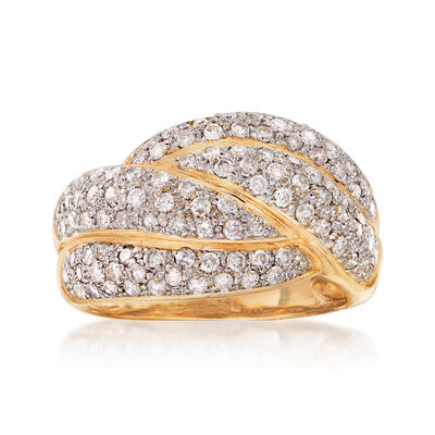 C. 1980 Vintage 1.30 ct. t.w. Pave Diamond Dome Ring in 14kt Yellow Gold, , default