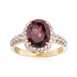 3.50 Carat Garnet and .30 ct. t.w. Diamond Ring in 14kt Yellow Gold, , default