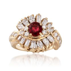 C. 1980 Vintage .80 Carat Ruby and 1.80 ct. t.w. Diamond Ring in 14kt Yellow Gold. Size 5, , default