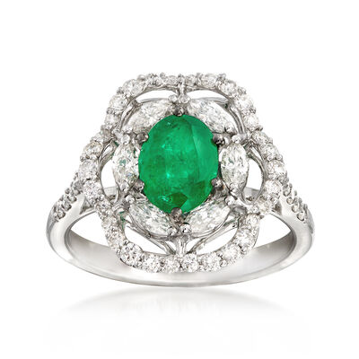 1.20 Carat Emerald and 1.04 ct. t.w. Diamond Floral Ring in 18kt White Gold, , default