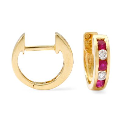 .45 ct. t.w. Ruby and .20 ct. t.w. Diamond Hoop Earrings in 14kt Yellow Gold, , default