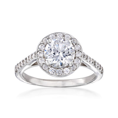 1.73 ct. t.w. CZ Halo Ring in Sterling Silver, , default