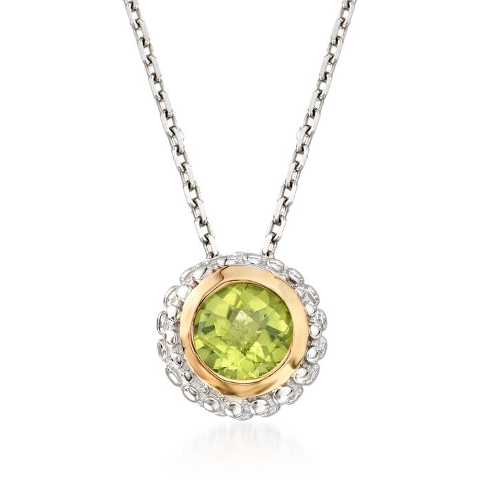 """Phillip Gavriel """"Popcorn"""" .45 Carat Peridot Pendant Necklace in Sterling Silver and 18kt Gold"""