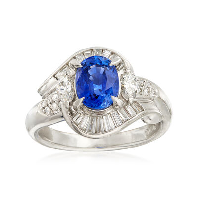 C. 1990 Vintage 1.75 Carat Sapphire and .64 ct. t.w. Diamond Ring in Platinum, , default