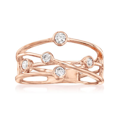 .25 ct. t.w. Diamond Crisscross Ring in 14kt Rose Gold, , default