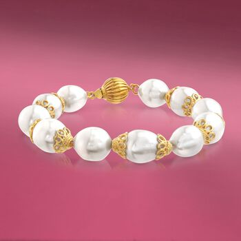 """10-12mm Cultured Pearl Bracelet With Lacy 18kt Gold Over Sterling Caps. 7.5"""", , default"""