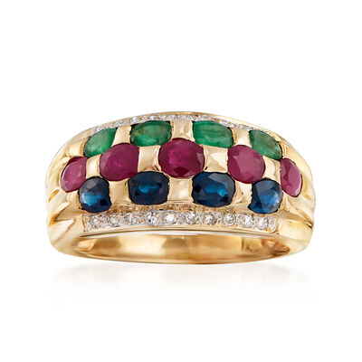 C. 1980 Vintage 3.10 ct. t.w. Multi-Gemstone Checkerboard Ring in 14kt Yellow Gold, , default