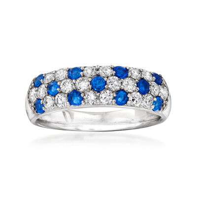 C. 1980 Vintage .60 ct. t.w. Diamond and .35 ct. t.w. Simulated Blue Spinel Ring in Platinum, , default