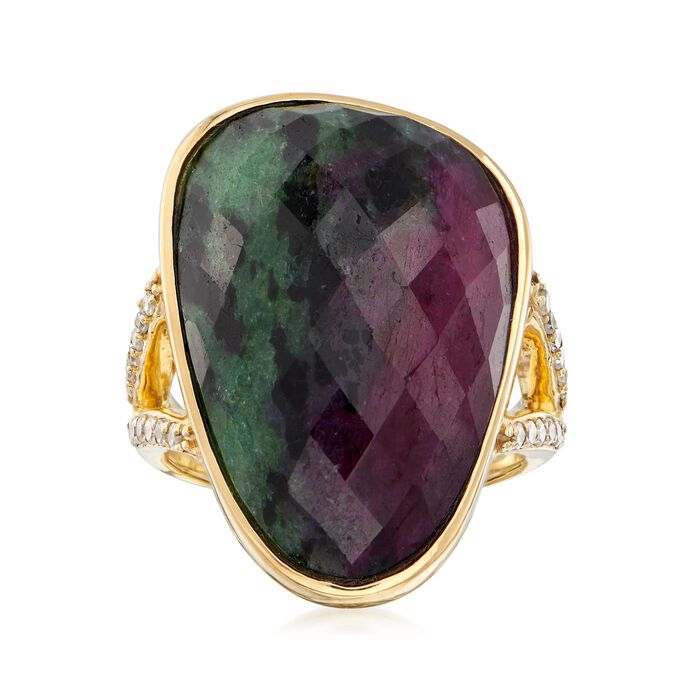 21.00 Carat Ruby-In-Zoisite and .22 ct. t.w. Diamond Ring in 18kt Gold Over Sterling. Size 5, , default