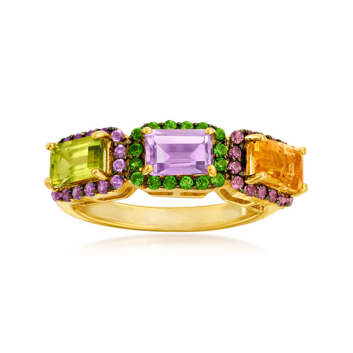 2.10 ct. t.w. Multi-Gemstone Ring in 18kt Gold Over Sterling