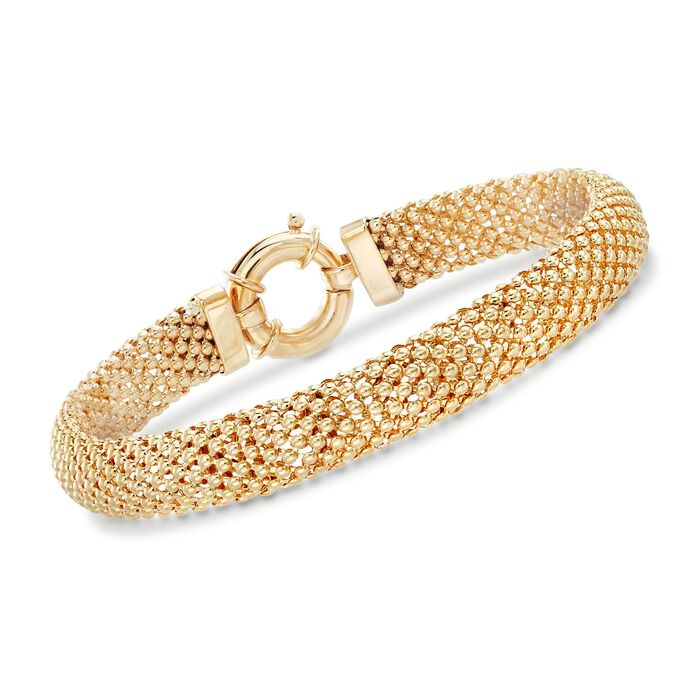 "14kt Yellow Gold Beaded Mesh Bracelet. 7.5"", , default"