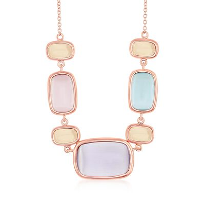 Multicolored Glass Necklace in 18kt Rose Gold Over Sterling, , default