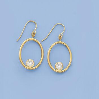 Italian 1.50 ct. t.w. CZ Open Oval Drop Earrings in 14kt Yellow Gold, , default