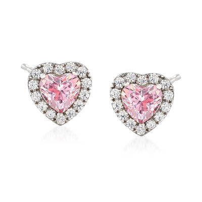 Swarovski Crystal 1.98 ct. t.w. Pink and White CZ Heart Earrings in Sterling Silver, , default