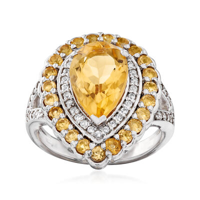 2.90 ct. t.w. Yellow Citrine and .20 ct. t.w. White Topaz Ring in Sterling Silver