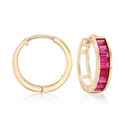 "Baguette Simulated Ruby Hoop Earrings in 14kt Yellow Gold. 1/2"", , default"