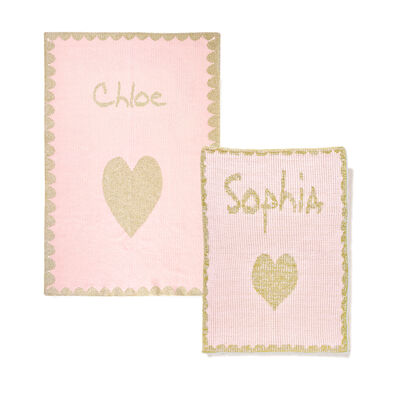 Child's Butterscotch Blankees Personalized Metallic Heart Blanket with Scalloped Border, , default