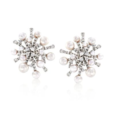 "Mikimoto ""Splash"" 3-6.5mm A+ Akoya Pearl and 2.44 ct. t.w. Diamond Earrings in 18kt White Gold"
