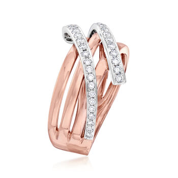 C. 1990 Vintage Piero Milano .41 ct. t.w. Diamond Highway Ring in 18kt Rose Gold. Size 6.5