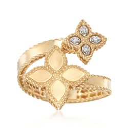 "Roberto Coin ""Princess"" .17 ct. t.w. Diamond Flower Bypass Ring in 18kt Yellow Gold. Size 7, , default"
