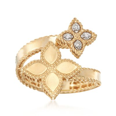 "Roberto Coin ""Princess"" .17 ct. t.w. Diamond Flower Bypass Ring in 18kt Yellow Gold, , default"