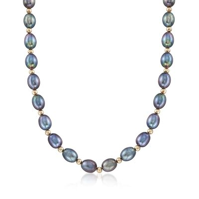 8-9mm Black Cultured Oval Pearl Necklace with 14kt Yellow Gold, , default