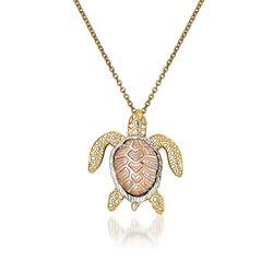 """14kt Two-Tone Gold Turtle Pendant Necklace. 18"""", , default"""