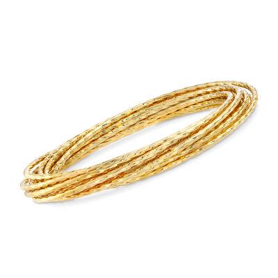 Italian Andiamo 14kt Yellow Gold Interlocking Bangle Bracelet, , default