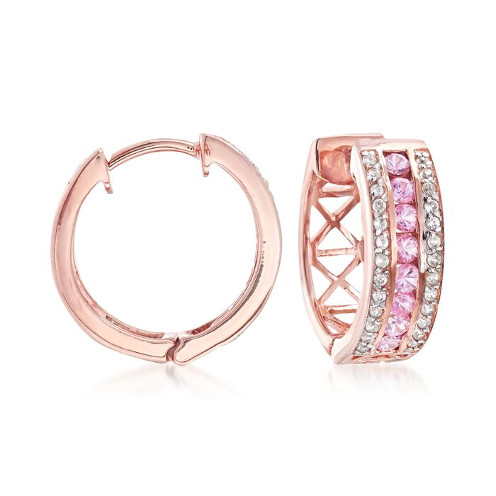 """.60 ct. t.w. Pink Sapphire and .20 ct. t.w. White Zircon Hoop Earrings in 18kt Rose Gold Over Sterling. 5/8"""""""