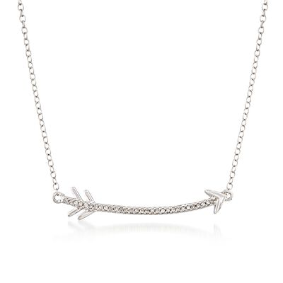 .10 ct. t.w. Diamond Curved Arrow Necklace in Sterling Silver, , default