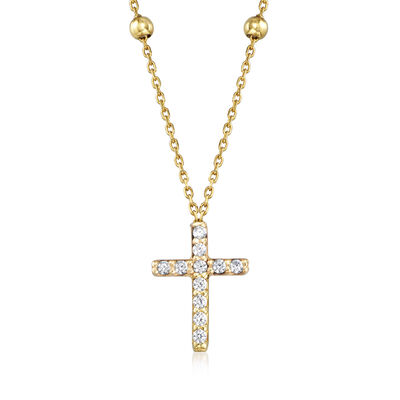 Italian .10 ct. t.w. CZ Cross Necklace with Station Beads in 14kt Yellow Gold, , default