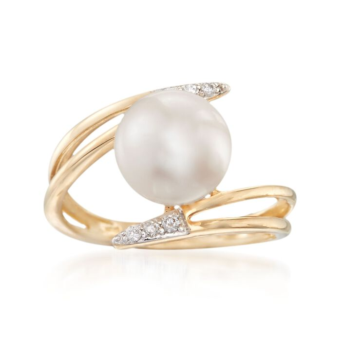 9mm Cultured Pearl Bypass Ring with Diamond Accents in 14kt Yellow Gold, , default