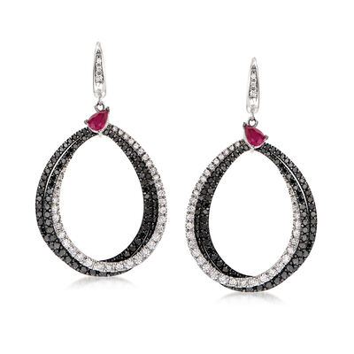 C. 1990 Vintage Stefan Hafner 6.10 ct. t.w. Black and White Diamond and 1.00 ct. t.w. Ruby Drop Earrings in 18kt White Gold, , default