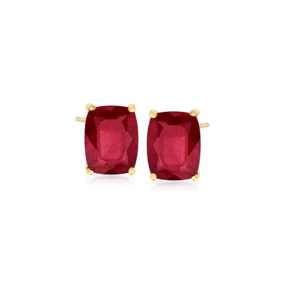 Cushion-Cut Ruby Earrings in 14kt Gold Over Sterling, , default
