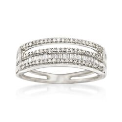 .36 ct. t.w. Baguette and Round Diamond Four-Row Ring in 14kt White Gold, , default