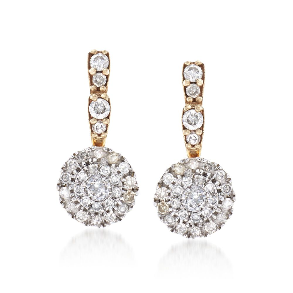 T W Pave Diamond Circle Drop Earrings In 14kt Two Tone Gold