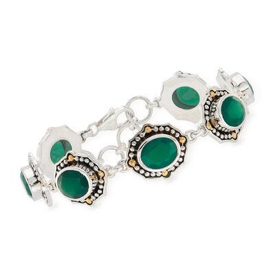 Green Chalcedony-Link Bracelet in Sterling Silver