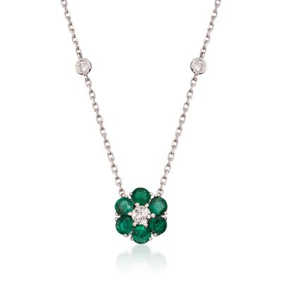 1.15 ct. t.w. Emerald and .45 ct. t.w. Diamond Floral Station Necklace in 14kt White Gold, , default