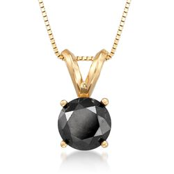 "1.50 Carat Black Diamond Solitaire Necklace in 14kt Yellow Gold. 18"", , default"