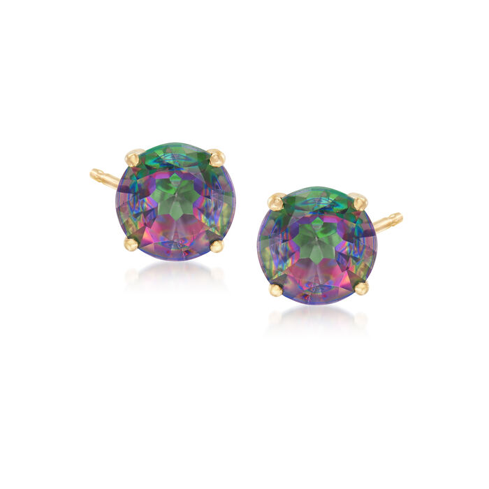 3.00 ct. t.w. Mystic Green Topaz Post Earrings in 14kt Yellow Gold