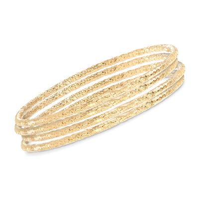 Italian 22kt Gold Over Sterling Jewelry Set: Four Textured Bangle Bracelets, , default