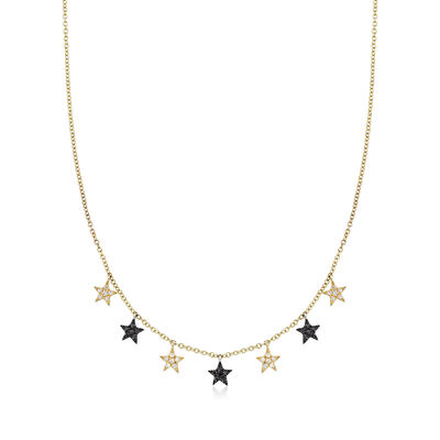 .18 ct. t.w. Multicolored Diamond Star Necklace in 14kt Gold with Black Rhodium, , default